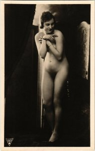 PC CPA RISQUE, NUDE LADY POSING IN HIGH HEELS, REAL PHOTO POSTCARD (b10723)