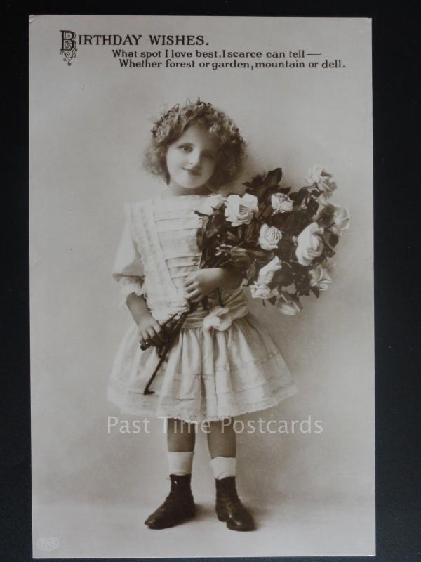 Greeting: Little Girl with Roses WHAT SPOT I LOVE BEST......Old RP Postcard