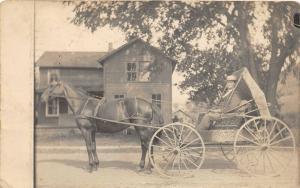 F19/ Elkland Pennsylvania RPPC Postcard Horse Buggy Home