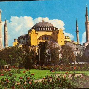 Instanbul Turkey Saint Sophia Museum Outside Building View Chrome Unposted