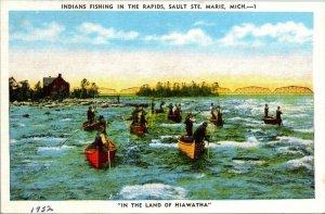 VTG Postcard Native Americans Indians Fishing Sault Ste Marie Mich 1952 Hiawatha