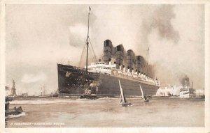 Mauretania Cunard Line Ship Writing on back