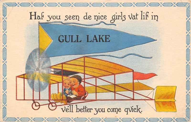 Gull Lake SK Haf You Seen De Nice Girls? Vell, Better Come by Bi-Plane c1915