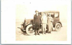 Vintage RPPC Real Photo Postcard Man & 2 Ladies w/ Family Automobile c1920s