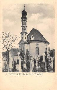 Augsburg Germany Church and Graveyard Antique Postcard J40545