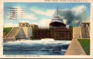 Michigan Soo Steamer Farrell In The Sabin Lock 1957 Curteich