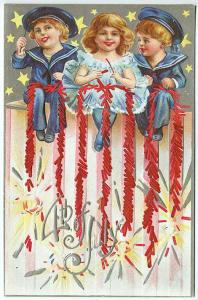 July 4th Sailor Boys & Girl with Firecrackers Stars Vintage Postcard