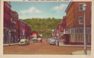 P1239 unused linen postcard 10th st. pennsylvania ave tyrone penn, old cars view