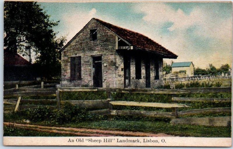 Lisbon, Ohio Postcard A Old Sheep Hill Landmark House 219 E High Street c1910s