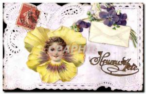 Postcard Fantasy Flowers Embroidery Old Child
