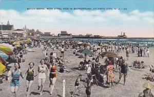 New Jersey Atlantic City Beach Scene With Steel Pier In Background