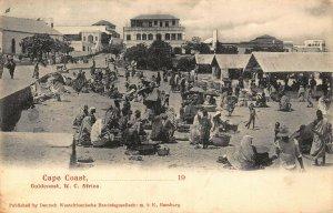 Ghana Gold Coast Cape Coast market day postcard
