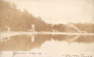 12664 MA Whitman 1905 Whitman Pond, Shoot the Chute ride  and Beach Real Photo