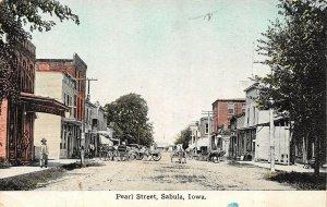 LP01 Sabula   Iowa Postcard Pearl St wagons in street