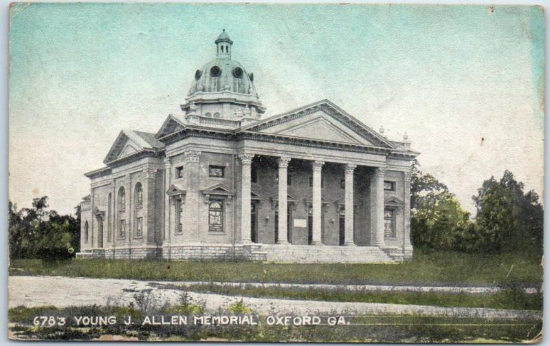 Oxford, Georgia Postcard YOUNG J. ALLEN MEMORIAL HAND-COLORED 1914 Cancel