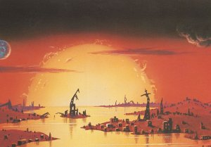 Sun Destroying Earth End Of The World Astronomy Painting Postcard