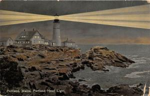 Portland Maine c1910 Postcard Portland Head Light Lighthouse