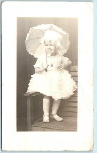 RPPC Studio Photo LITTLE GIRL TODDLER Frilly Dress and Parasol c1920s  Postcard