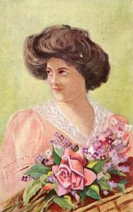 Lady in Pink, Big Hair - Artist Signed: Roberto Melvin?