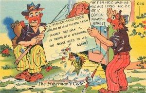 Comic Humor Fisherman's Code Ray Walters Postcard Teich linen 20-1169