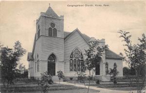 E37/ Kiowa Kansas Ks Postcard 1908 Congregational Church Building