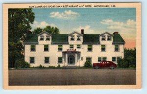 MONTICELLO, Indiana IN ~ Roadside ROY CONRAD'S SPORTSMAN RESTAURANT Postcard