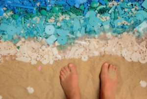 Beach Sand Sea Lego Feet Paddling Childrens Toy Seashore Display Postcard