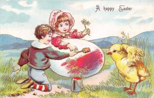Easter~Victorian Boy~Sunbonnet Girl Paints Huge Egg~Chick~Gold Leaf Emb~Germany