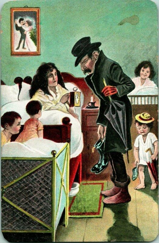 Vtg Postcard 1900s UDB Comic Art Stumbling Home to Marital Bliss Unused UNP
