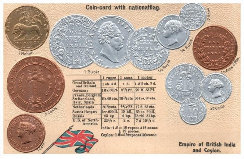 Coin Card   Empire of British India and Ceylon