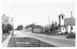 Brethren Michigan~Methodist Church & Striped House & Outbuilding RPPC 1948