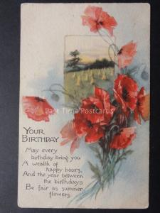 YOUR BIRTHDAY Poppies Postcard c1914