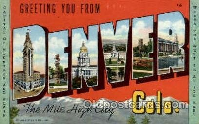 Denver, Colorado, USA Large Letter USA Town 1951 close to perfect corners, po...