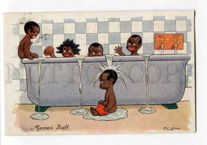 264916 BLACK AMERICANA Kids BATHING by FG LEWIN vintage PC