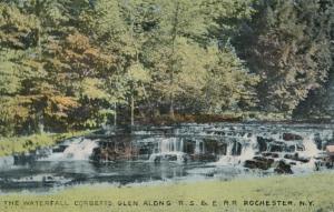 Waterfall on Allens Creek in Corbetts Glen Rochester New York near RS&E RR - DB
