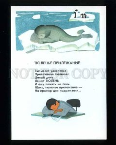 d180560 seals and penguins by artist Tokmakov old postcard