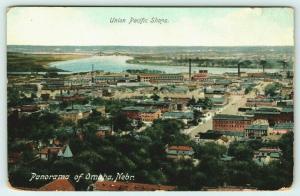 Omaha Nebraska~Birdseye Panorama~Union Pacific Railroad Shops~c1910 Postcard