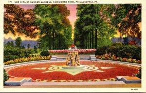 Pennsylvania Philadelphia Fairmount Park Sun Dial At Sunken Gardens Curteich