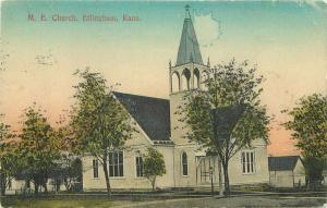 Effingham Kansas ME Church  1912 Postcard hand colored 3521
