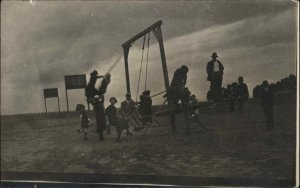 Playground People Playing c1910 Unidentified Real Photo Postcard