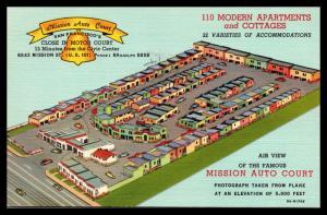 Mission Auto Court, Aerial, San Francisco CA Vintage Linen Postcard G23