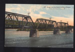 DESCHUTES RIVER OREGON BRIDGE RAILROAD TRAIN VINTAGE POSTCARD WESTERN RR