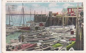 Maine Eastport Bridge Of Canadian Boats In Dock 1936