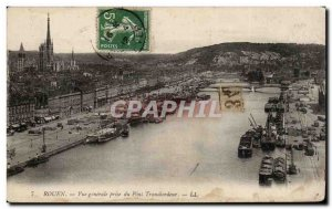 Old Postcard Rouen General view taken from ferry