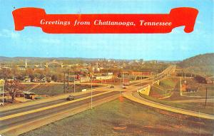 Chattanooga TN New Freeway System Panoramic View Old Cars Postcard