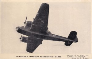 Bristol Beaufort 1 Valentines Aircraft Recognition Plane Postcard