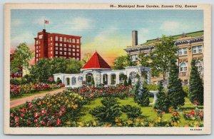 Kansas City KS~Municipal Rose Garden~Pergola Gate Arch~Birdbath~1946 Linen
