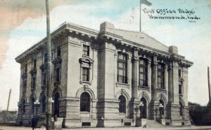 Post Office Building Hammond Indiana Posted Vintage Undivided Back Post Card