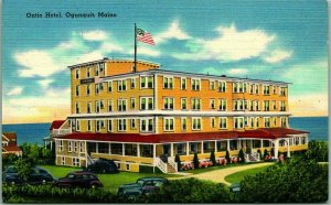 Ogunquit, Maine Postcard ONTIO HOTEL w/ Ocean View Tichnor Linen c1940s Unused