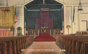 Vintage Postcard 1942 Chapel U.S. Naval Training Station Newport Rhode Island RI